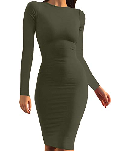 - Mokoru Women's Casual Basic Pencil Dress Sexy Long Sleeve Bodycon Midi Club Dress, Large, Army Green