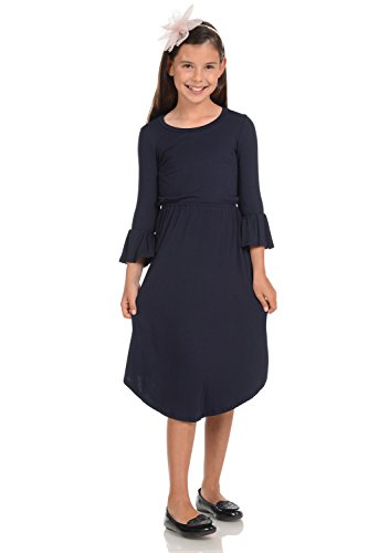 Honey Vanilla Girls' Fit and Flare Midi Dress with Bell Sleeve Medium 7-8 Years Navy -