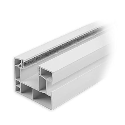 DIWARO Rolladen F/ührungsschiene aus Kunststoff weiss f/ür Maxi Rolladenprofile Fixl/änge 1300mm mit beidseitiger B/ürstendichtung in grau