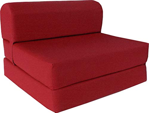 D&D Futon Furniture Red Sleeper Chair Folding Foam Bed 6 x 48 x 72 inches, Studio Guest Beds, Sofa.