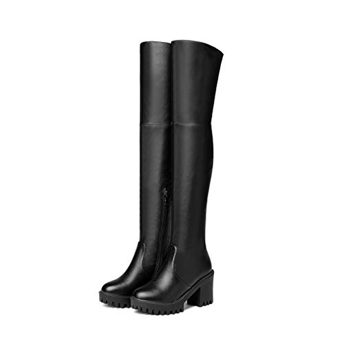 JOYBI Women Round Toe Thigh High Boots Autumn Winter Zip Chunky High Heel Platform Over The Knee Boots