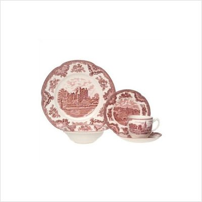 Johnson Brothers Castle - Johnson Brothers 2425625405 Old Britain Castles 20-Piece Dinnerware Set, Pink