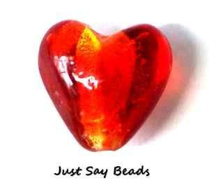 10 Red Murano Silver Foil Glass Heart Beads 12Mm (Ref:5C35) by Just Say Beads -
