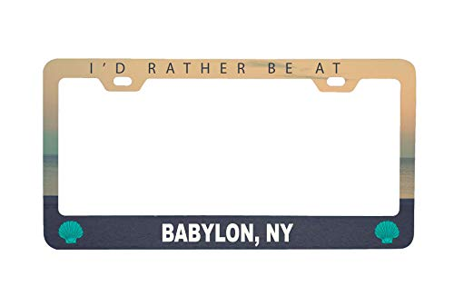R and R Imports Babylon New York Sea Shell Design Souvenir Metal License Plate Frame