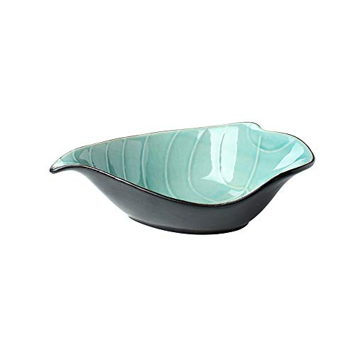 Gold Cracked Ice Sets (Creative personality color leaves embossed ice cracked fruit plate dish shaped salad bowl round taste dish household tableware blue 22.5x14.5x6.5cm)