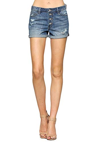 Button Fly Jean Shorts - Vervet by Flying Monkey Jeans Breeze Exposed Button Fly Boyfriend Shorts VT197 (28/7)