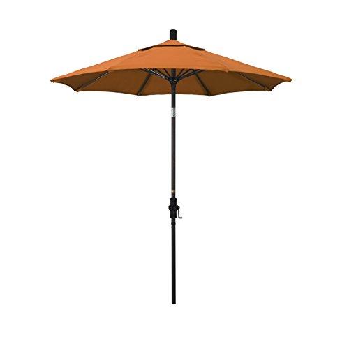 California Umbrella 7.5 Round Aluminum Pole Fiberglass Rib Market Umbrella, Crank Lift, Collar Tilt, Bronze Pole, Tuscan