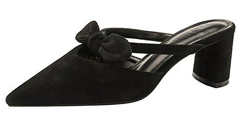 Easemax Chaussure Découpe Mules Mignon Talon Femme Noir Pointue Princesse Chunky EqIEOwr