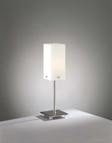 George Kovacs P231-084 Table Lamp Brushed Nickel Etched Cased Opal Glass Portables