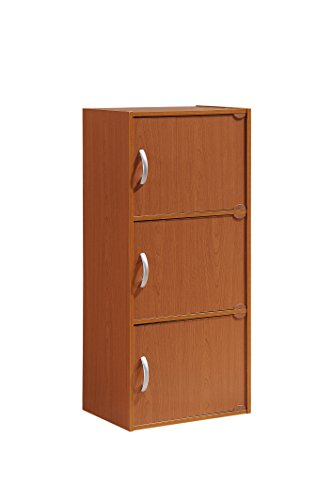 Hodedah 3 Door, Three Shleves, Enclosed Storage Cabinet, Cherry by HODEDAH IMPORT