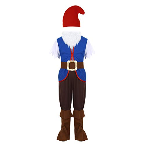 Alvivi Toddler Boy Garden Gnome Costume Christmas Cosplay Fancy Dress Tops with Pants Hats Beard Belt Set Blue&Brown -