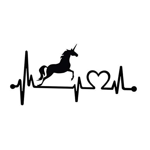 (14.9CM7.1CM Lovely Unicorn Heartbeat Lifeline Vinyl Black/Silver Car Sticker Decal C22-1037)