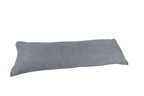 Silver Gray Grey Microsuede Body Pillow Cover Pillowcase wit