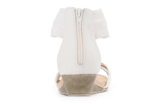 Tacco A Zeppa Moda Donna Modello Alexis Leroy Con Brillantini In Strass Color Bianco