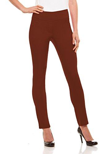 Velucci Womens Straight Leg Dress Pants - Stretch Slim Fit Pull On Style, Rust-M ()