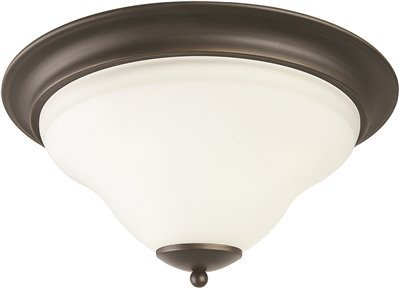Monument 3557938 Sanibel 3-Light Flush Mount Ceiling Fixture, Frosted Glass, 16 X 7-1/8'', Oil Rubbed Bronze, 12.693'' x 12.693'' x 12.693''