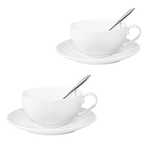 Tea Cups and Saucers Sets, Set of 2, [6.75 FL OZ(200 ML) Tea Cup], 77L Ceramic Espresso Latte Coffee Cups and Saucers Set with Mixing Spoon - Coffee Cups and Saucers Set for Home and Office, White