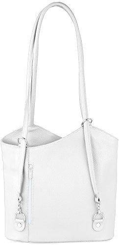 JosyJoe «Ashley» mochila 2 en 1 y bolso de mano de piel auténtica fabricado en Italia, el color:Rojo Blanco
