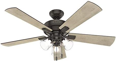 Hunter 54205 Crestfield Indoor Ceiling Fan with LED Lights and Pull Chain Control, 52 , Noble Bronze