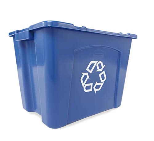 Rubbermaid Commercial Stackable Recycling Bin, 14 Gallon, Blue (FG571473BLUE) (Renewed)
