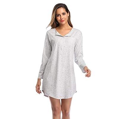 SelfieGo Women's Sleepshirt Cotton Long Sleeves Loungewear Dorm Pajama Sleep Lounge Nightshirts Nightgown Boyfriend Sleepwear at Women's Clothing store