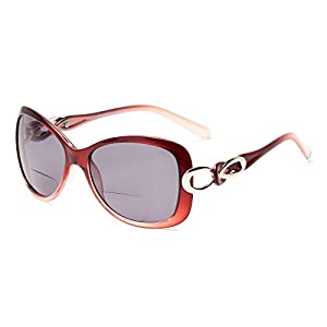 Readers.com The Delia Bifocal Sun Reader Red with Smoke Women's Trendy Oversized Sun Readers with Metal Details Retro Square Reading Glasses