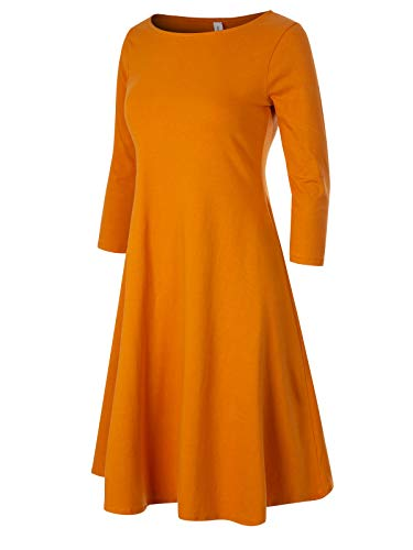 (Design by Olivia Women's Classic 3/4 Sleeve Round Hem Swing Flared Tunic Dress with Side Pockets Mustard 3X)