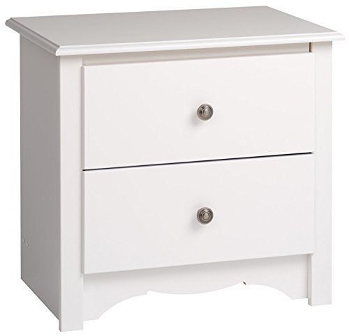 Prepac Monterey White 2-Drawer Night Stand (Bedroom Furniture Bedroom Night Stands)