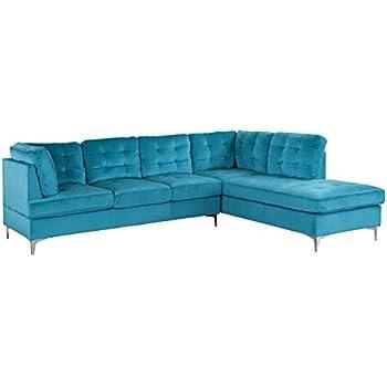 Amazon.com: Moderno sofá de terciopelo grande en forma de U ...
