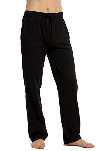 Black Mens Sleep Pant - Men's Knitted PJ Cotton Pajama Pants (S, Black)