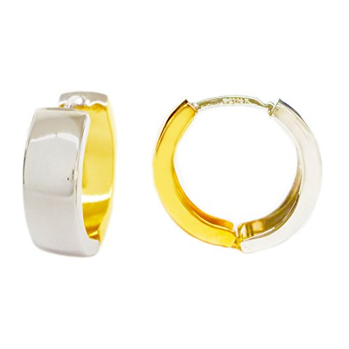 Ritastephens 14k Yellow White Two-tone Gold Lite Reversible Huggies Hoops Earrings 15x5mm ()