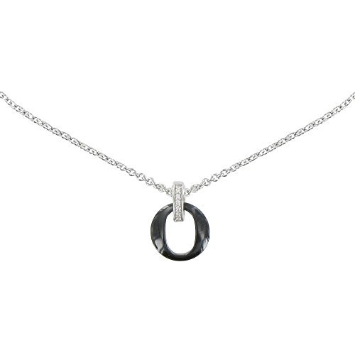 Les Poulettes Jewels - Silver Rhodium and Black Ceramic Small Circle Necklace by Les Poulettes Jewels