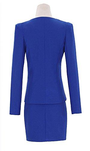 Kangqifen Women's Long Sleeve Business Offcie Suit Skirt Set (Small, Royal Blue) by Kangqifen (Image #5)