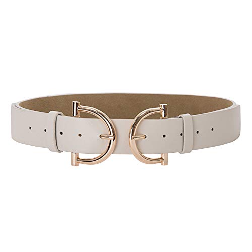 (Womens Vintage Elastic Stretch Waist Belt Retro Cinch Double Buckle Belt Ivory M )