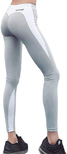レディースジャージ上下セット 女性パワーストレッチハイウエストフィットネスランニングトレーニングレギンス (色 : Deep ash+ash, サイズ : M)