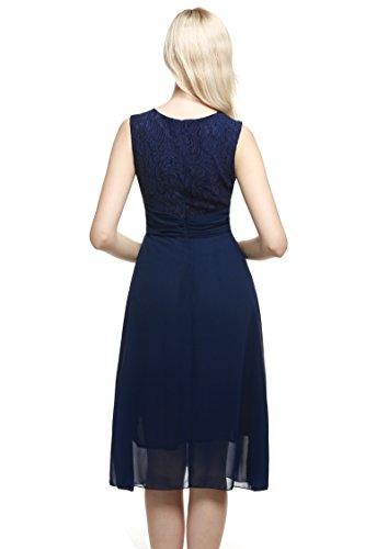 Zeagoo Vestido Marino Sin Gasa Ann Mangas Prom Flare Azul Mujer Para Elegante Party Encaje Ajuste Tennant rZHOrx
