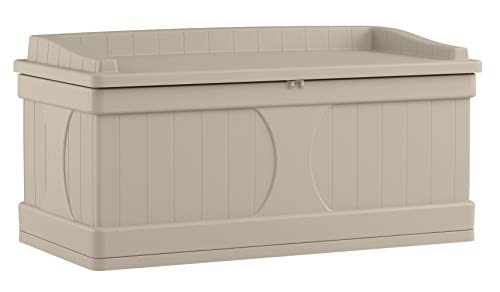 (Suncast 99 Gallon Patio Storage Box - Large Waterproof Outdoor Storage Container for Patio Furniture, Pools Toys, Yard Tools - Store Items on Deck, Porch, Backyard - Taupe)