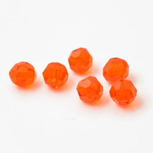 - 24 pcs 8mm Swarovski Crystal Round Beads 5000, Red Topaz, SW-5000