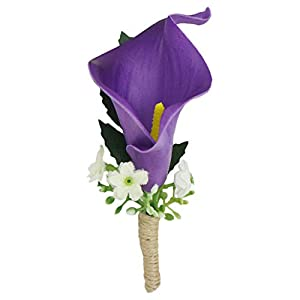Lily Garden Wedding Bouquet Artificial Flowers Orange and Purple Calla Lily (Single Boutonniere Purple) 75