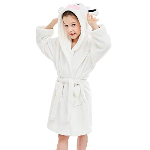 IDGIRLS Kids Animal Hooded Soft Plush Flannel Bathrobes for Girls Boys Sleepwear White Cow M (Animal Hooded Organic)