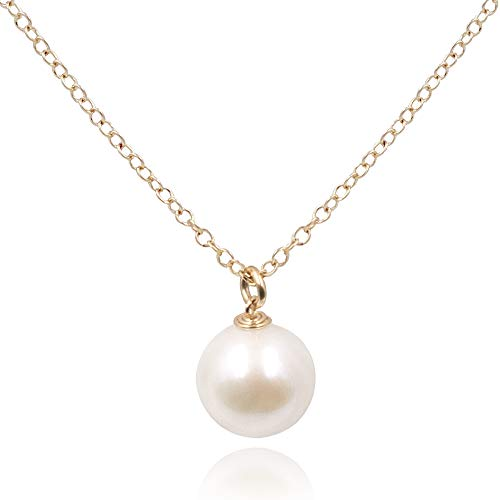 (MaeMae Round Freshwater Pearl Pendant Necklace, 14K Gold Filled Chain, 16