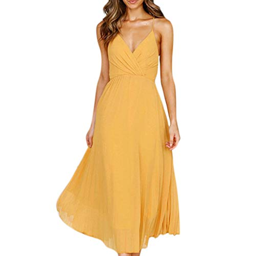 (Fitfulvan Women Wrapped Chest Sexy Strap Backless Soild Maxi Dress Swing Sling V-Neck Elegant Party Long Skirt Yellow)