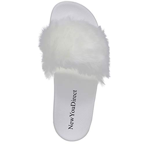 d52c520cd576f NewYouDirect Fur Slides for Women,Fuzzy Sandals Slippers Flip Flop Furry  Slides Soft Flat for Indoor Outdoor White