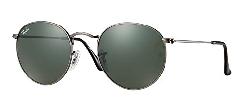 RB 3447 Round Sunglasses (John Lennon) New Colors! (Gunmetal Frame Solid Black G15 Lens, - Ray Frame Round Bans