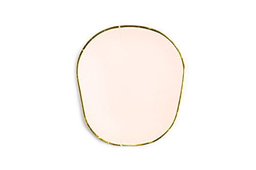 Sugar & Cloth 7 Inch Oval Dessert Paper Plate, Peach with Gold Edge, 24 Count