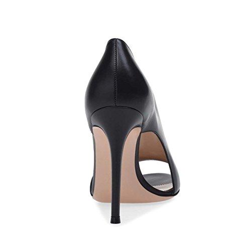 De Marron Mesdames GONGFF Chaussures Mode À Sandales Poisson Dîner Chaussures Noir Talons Femmes Hauts Black pour Bouche CHx4Pqx