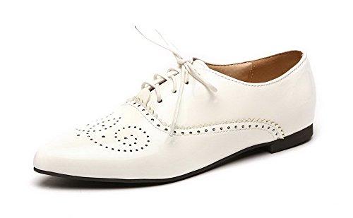 VogueZone009 Damen Spitz Zehe Schnüren Blend-Materialien Rein Niedriger Absatz Pumps Schuhe Weiß