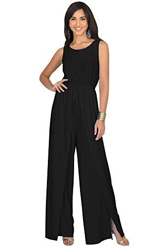 KOH KOH Plus Size Womens Sleeveless Cocktail Wide Leg Casual Cute Long Pants One Piece Jumpsuit Jumpsuits Pant Suit Suits Romper Rompers Playsuit Playsuits, Black 3XL 22-24 ()