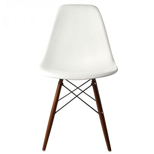 Ariel DSW Molded White Plastic Shell Chair with Dark Oak Eiffel Legs Set of 2