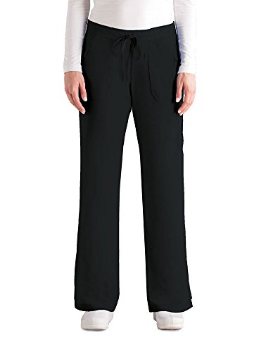 Grey's Anatomy Women's 4245 Junior Fit 4-Pocket Elastic Back Scrub Pants, Black, - Pants Scrub Back Elastic
